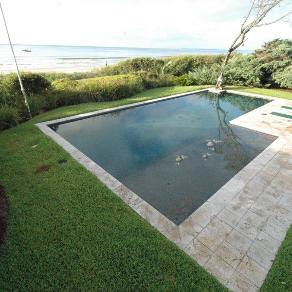 Custom Geometric Pool with Sea Turtle Decals