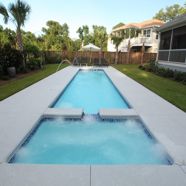 Fiberglass Pool with Water Features and a built-in Spa Front Facing View