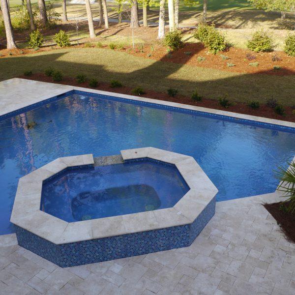 Custom Diamond Shaped Pool with Custom Spa