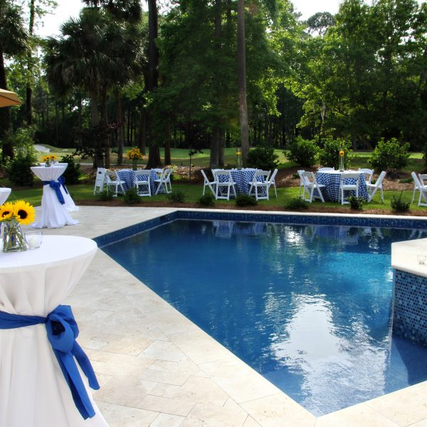 Custom Diamond Shaped Pool with Decorated Tables