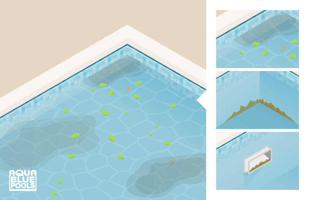 Clean pool filters, remove debris and clean pool tiles